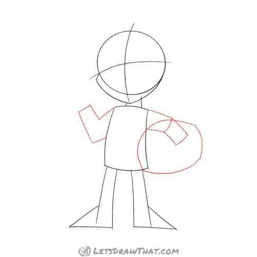 Drawing step: Draw the alien's arms and helmet