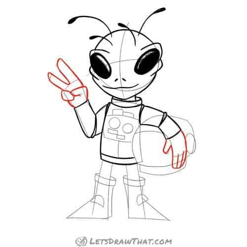 Drawing step: Draw the alien's hands