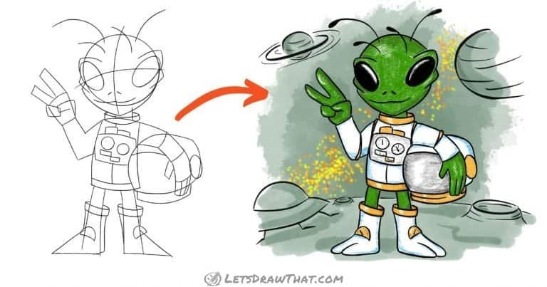 How To Draw An Alien: An Awesome Little Green Guy With A Twist - step-by-step-drawing tutorial featured image