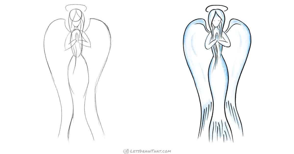 Angel drawing: graceful female angel in a few lines - step by step drawing tutorial