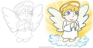 How to draw an angel - sketch and the final coloured in drawing