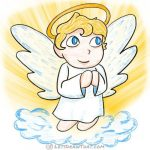 How to draw an angel: finished coloured-in drawing