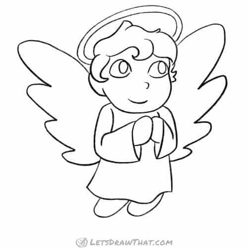 How to draw an angel: complete pencil outline