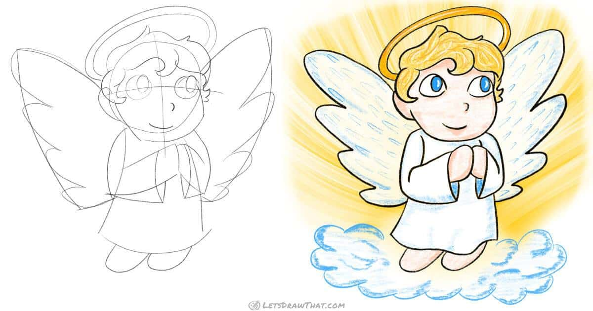 How to draw an angel in a simple chibi style - step by step drawing tutorial