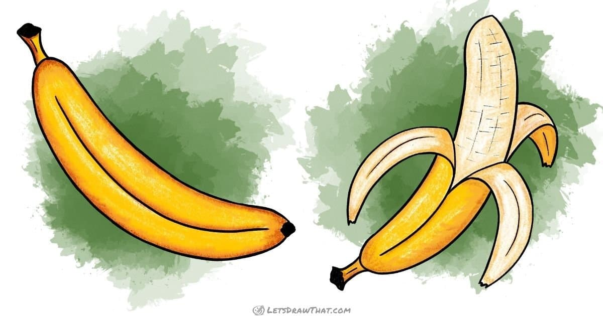 How to draw a banana - with the skin and peeled - step-by-step-drawing tutorial featured image