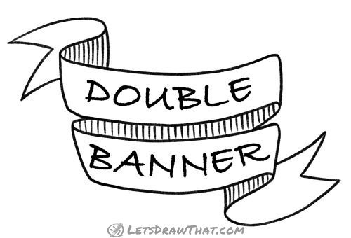 How to draw a double banner  -  completed line drawing