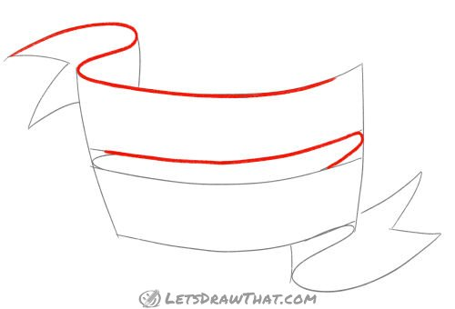 Drawing step: Outline the upper banner line