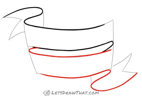 Drawing step: Outline the lower banner line