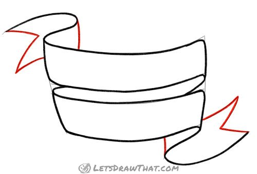 Drawing step: Outline the final ribbon edges