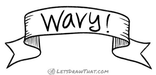 How to draw a wavy banner  -  completed line drawing