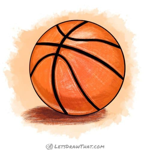 How to draw a basketball - colour drawing
