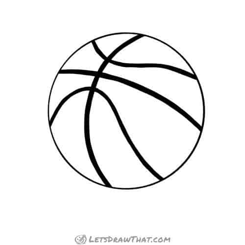 How to draw a basketball - outline drawing