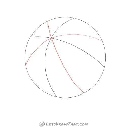 Drawing step: Divide the basketball into eighths
