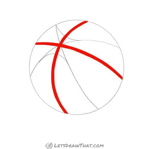Drawing step: Draw the quarter split lines on the basketball