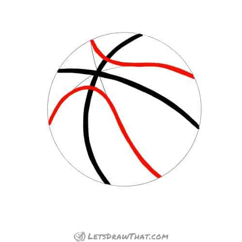 Drawing step: Outline the curved basketball pattern lines