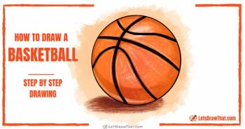 How to draw a basketball - an easy line pattern and shading - step-by-step-drawing tutorial featured image