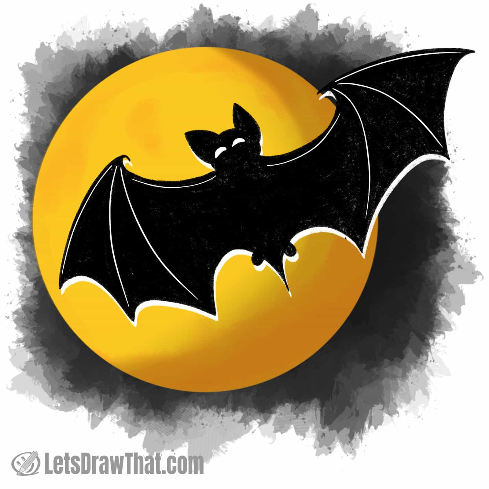 How to draw a bat silhouette: finished drawing coloured-in