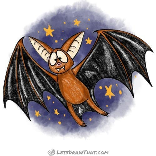 How to draw a bat: finished drawing coloured-in