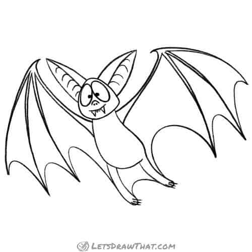 How to draw a bat - completed outline drawing