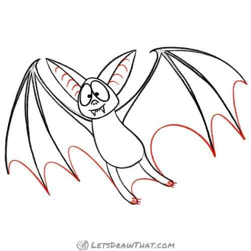 Finish drawing the bat wing outline