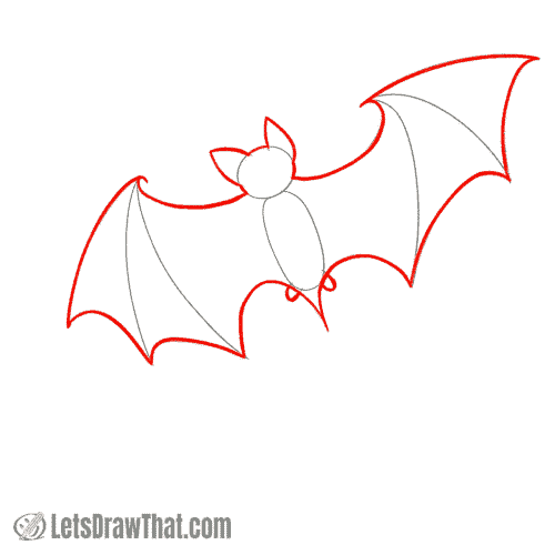 Drawing step: Outline the bat silhouette
