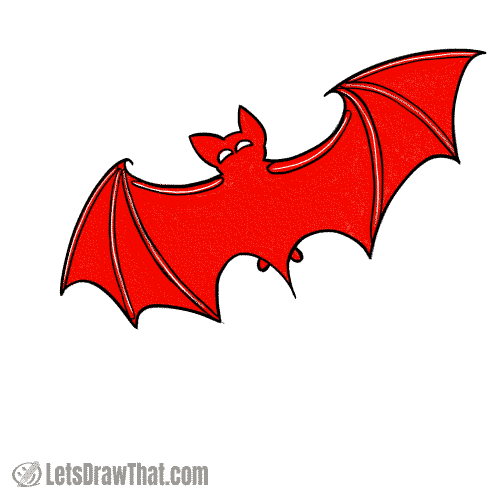 Drawing step: Colour the bat silhouette in black