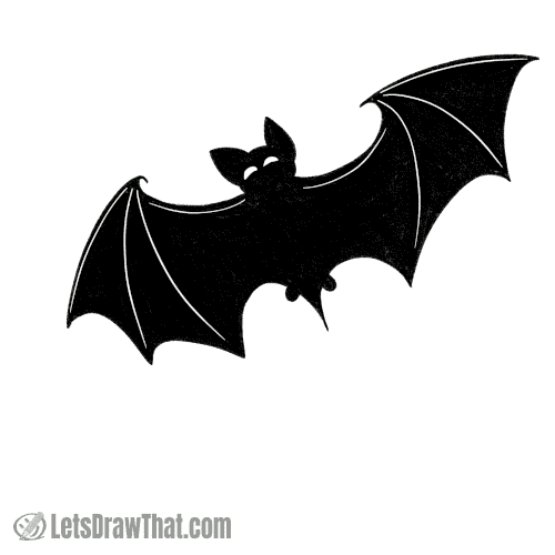 How to draw a bat silhouette: finished outline drawing