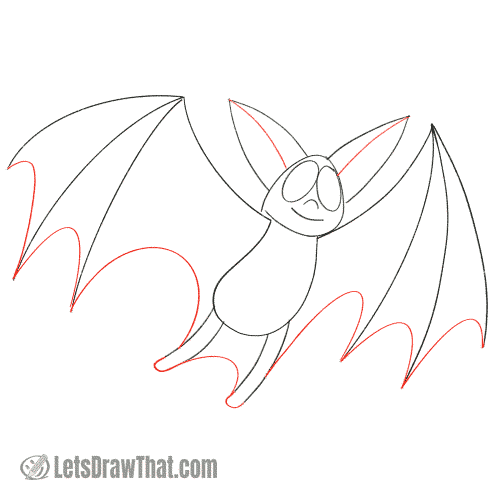 Drawing step: Draw the bat wing membrane