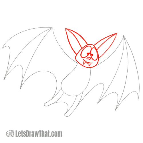 Drawing step: Draw the bat's head and face