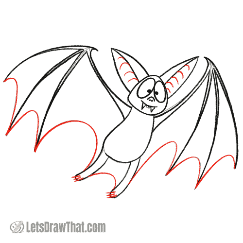 Drawing step: Finish drawing the bat's wings