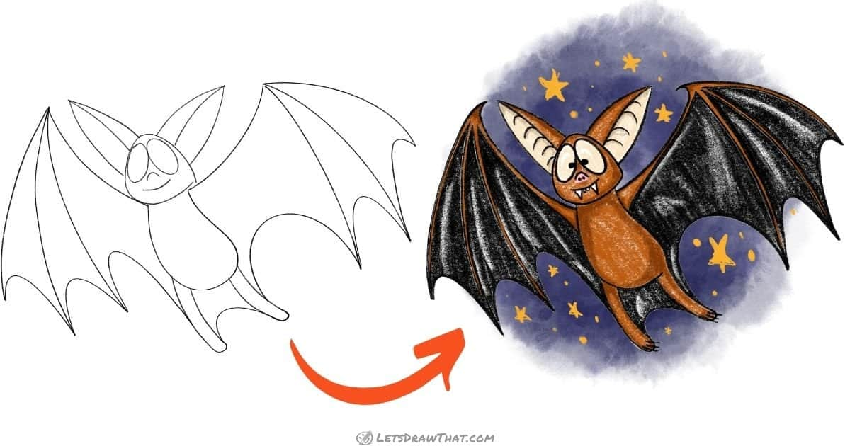 How to draw a bat - simple and cute cartoon style - step-by-step-drawing tutorial featured image