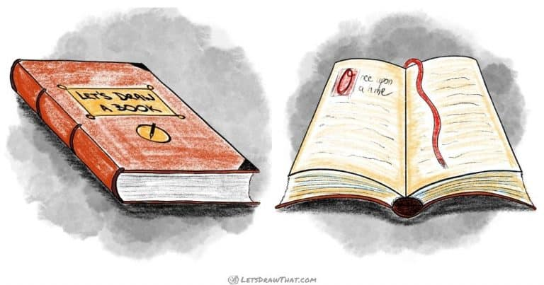 How to draw a book in perspective- open and closed - step-by-step-drawing tutorial featured image