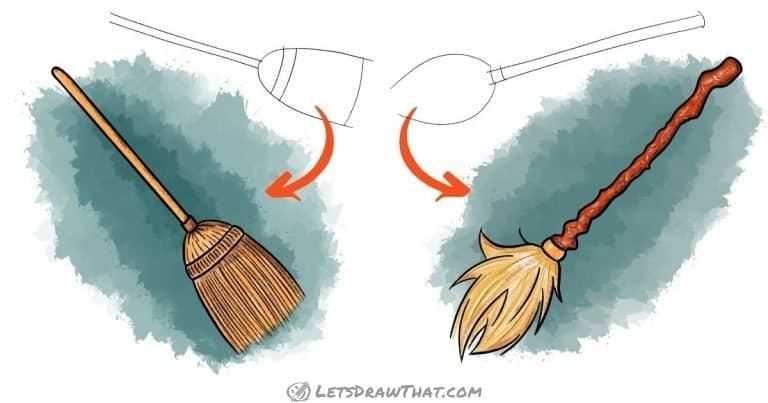 How To Draw A Broom (2 Different Ways - 4 Really Easy Steps) - step-by-step-drawing tutorial featured image