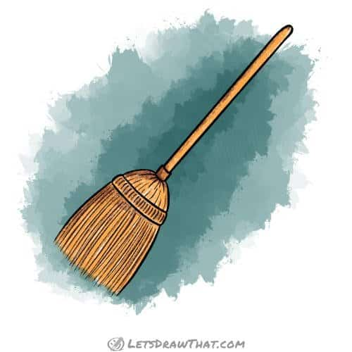 How to draw a broom: finished straw broom drawing coloured-in