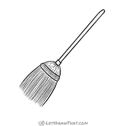 How to draw a broom: finished straw broom outline drawing