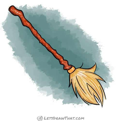 How to draw a broom: finished witch's broomstick drawing coloured-in