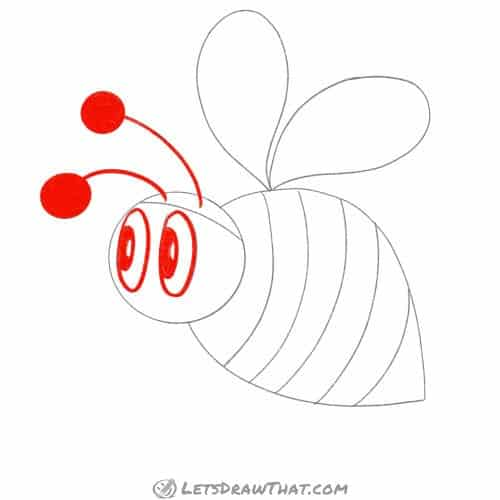 Outline the eyes and antennae