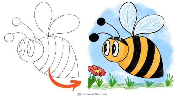 How to draw a bumblebee - very simple and very cute - step-by-step-drawing tutorial featured image