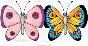 How to draw a butterfly from simple shapes - step by step drawing tutorial