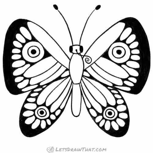 How to draw a butterfly wing patterns: completed pencil outline