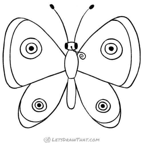 How to draw a butterfly: completed pencil outline