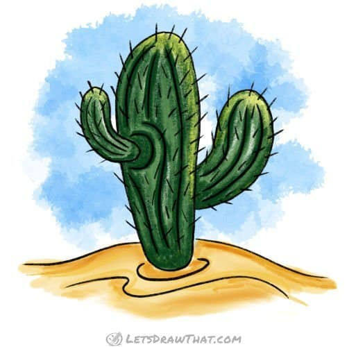 How to draw a cactus: completed saguaro cactus coloured in