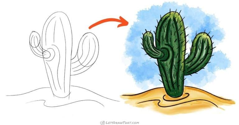 How to draw a cactus: easy step by step drawing - step-by-step-drawing tutorial featured image