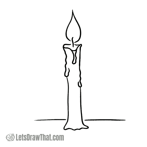 How to draw a candle: finished outline drawing
