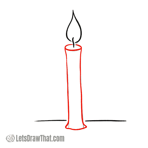 Drawing step: Draw the wax candle body