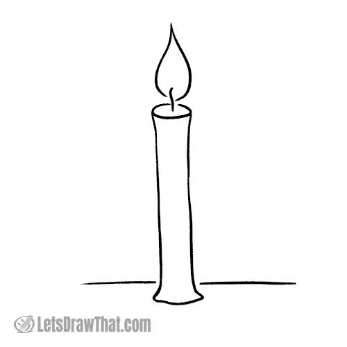 Drawing step: Finished simple candle drawing