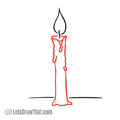 Drawing step: Draw a candle with a dripping wax