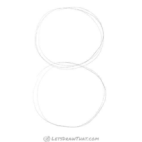 How to draw a cat using circles - sketch the body
