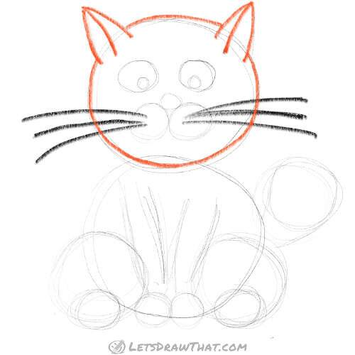 How to draw a cat using circles - draw the head and ears