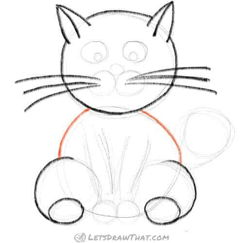 How to draw a cat using circles - finish drawing the body
